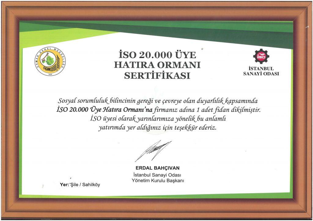 İSO 20.000 Üye Hatıra Ormanı Sertifikası