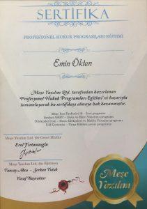 Avukat Emin Ökten -Profesyonel Hukuk Programları Sertifika